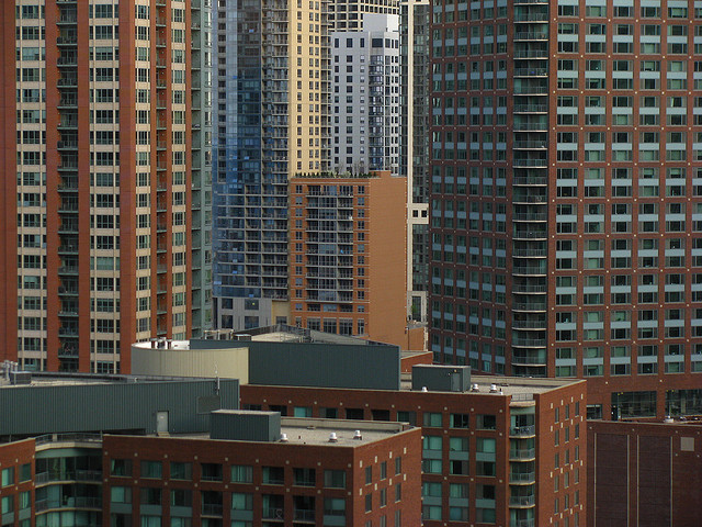 Apartment buildings in downtown Chicago