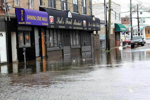 Flooded streets in the aftermath of Hurricane Sandy