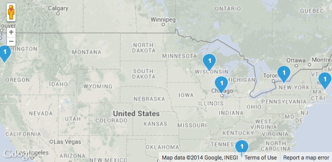 Locations of the 6 schools announcing new project partnerships with Chevrolet.