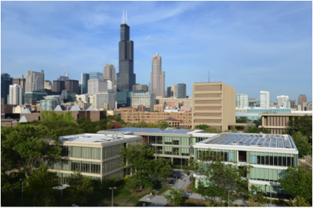 UIC's Grant Hall, Douglas Hall, and Lincoln Hall (Image courtesy of UIC Public Affairs).