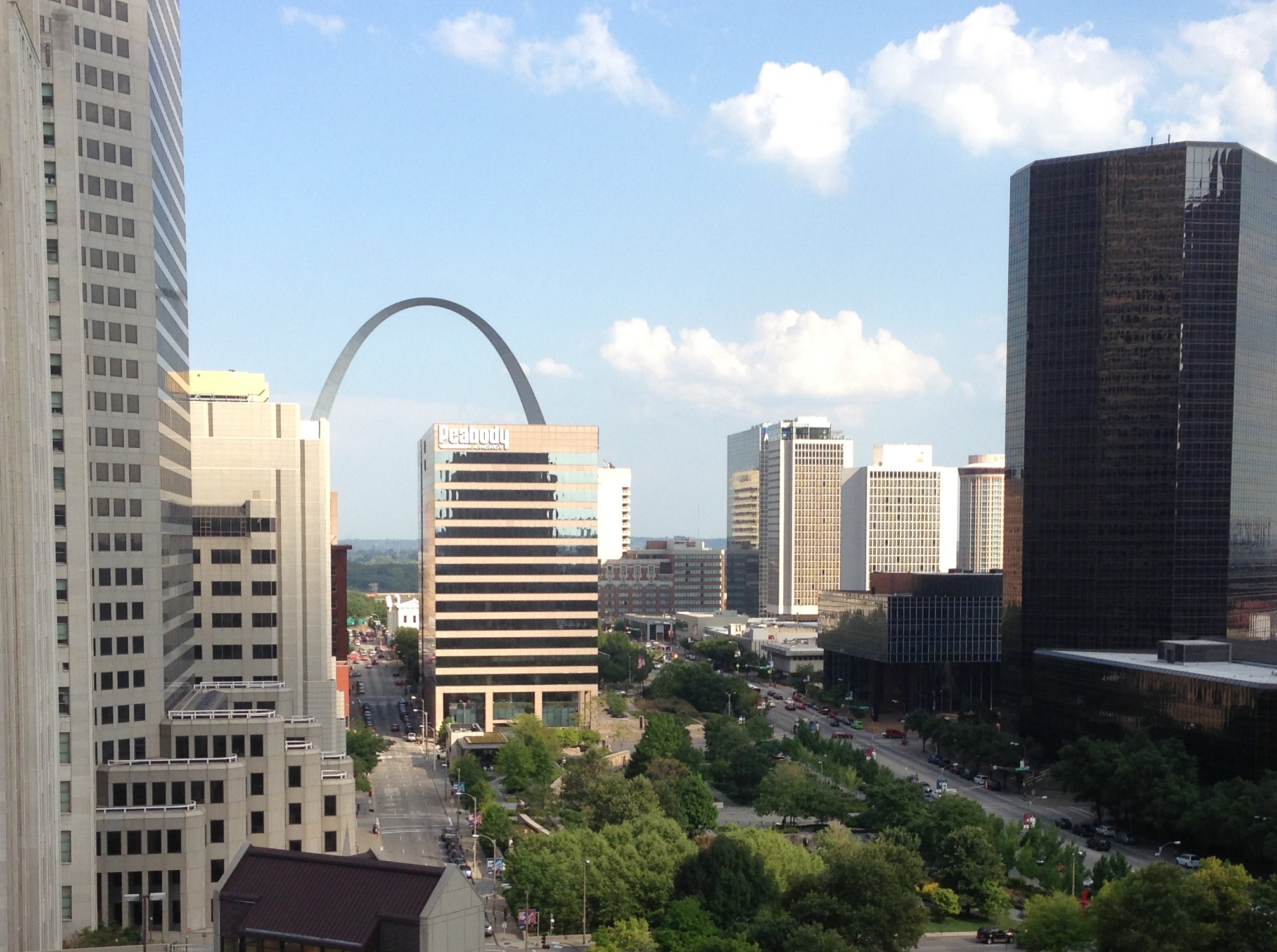 View of the arch from Saint Louis University School of Law's Scott Hall, a 25x20 Participant.