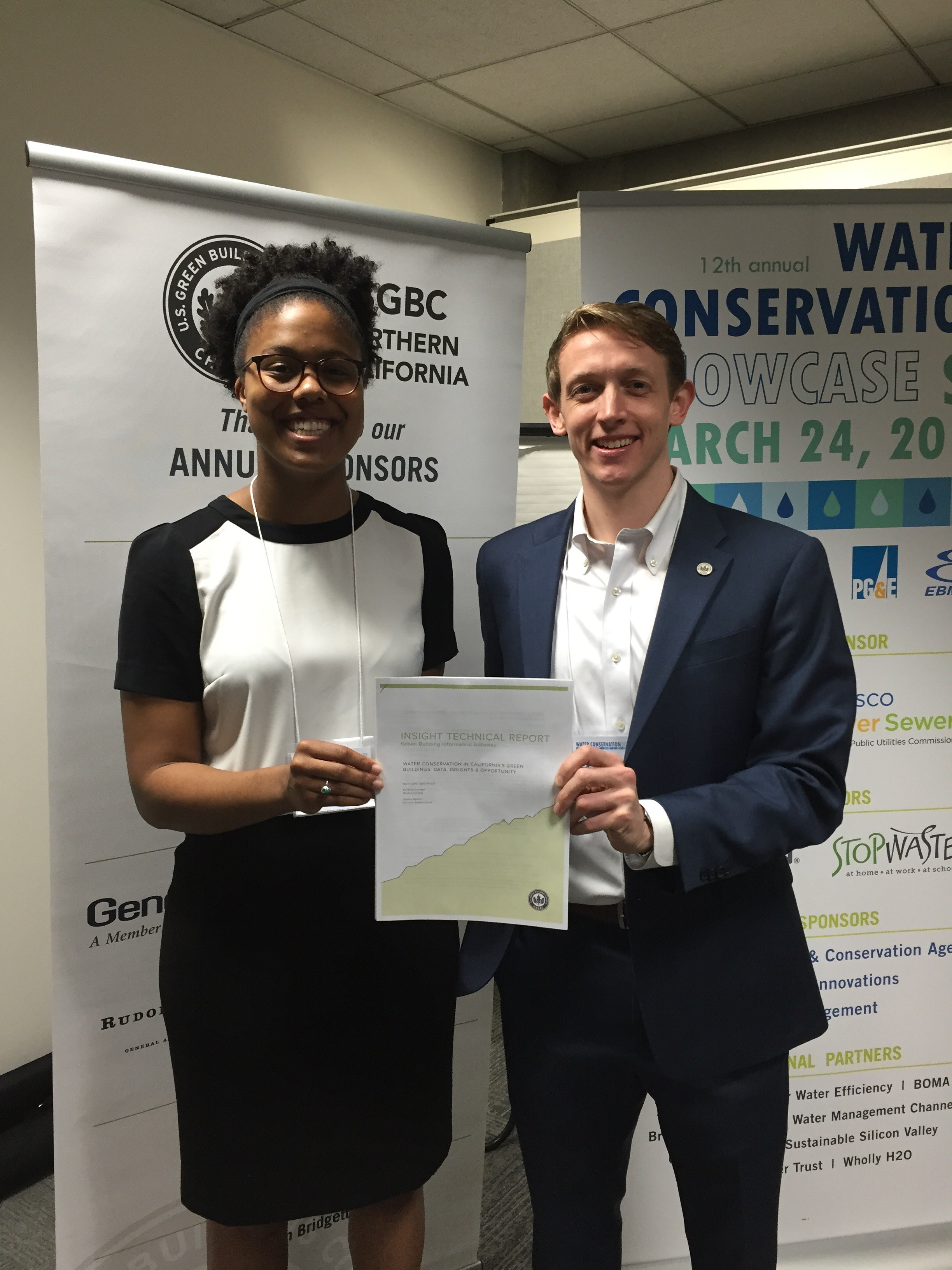 At the 12th Annual Water Conservation Showcase in San Francisco, Jeremy Sigmon (USGBC) and Adrienne Johnson (Stanford U.) presented findings from the newly-released GBIG Insight technical report.