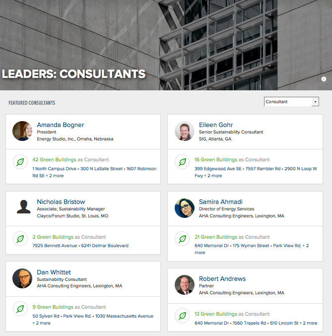 GBIG Leaderboards showcase green building professionals around the world.