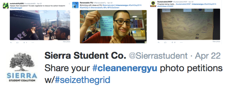 Students from around the U.S. shared clean energy photo petitions on Twitter.