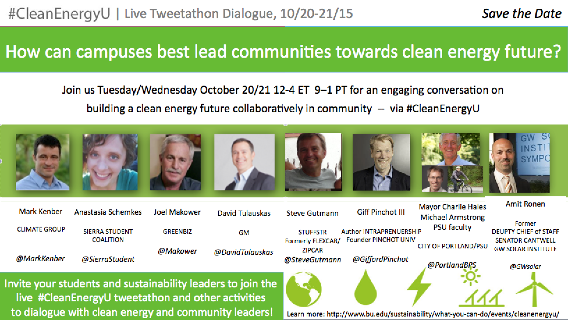#CleanEnergyU Save the Date Tweetathon Oct 20-21 A