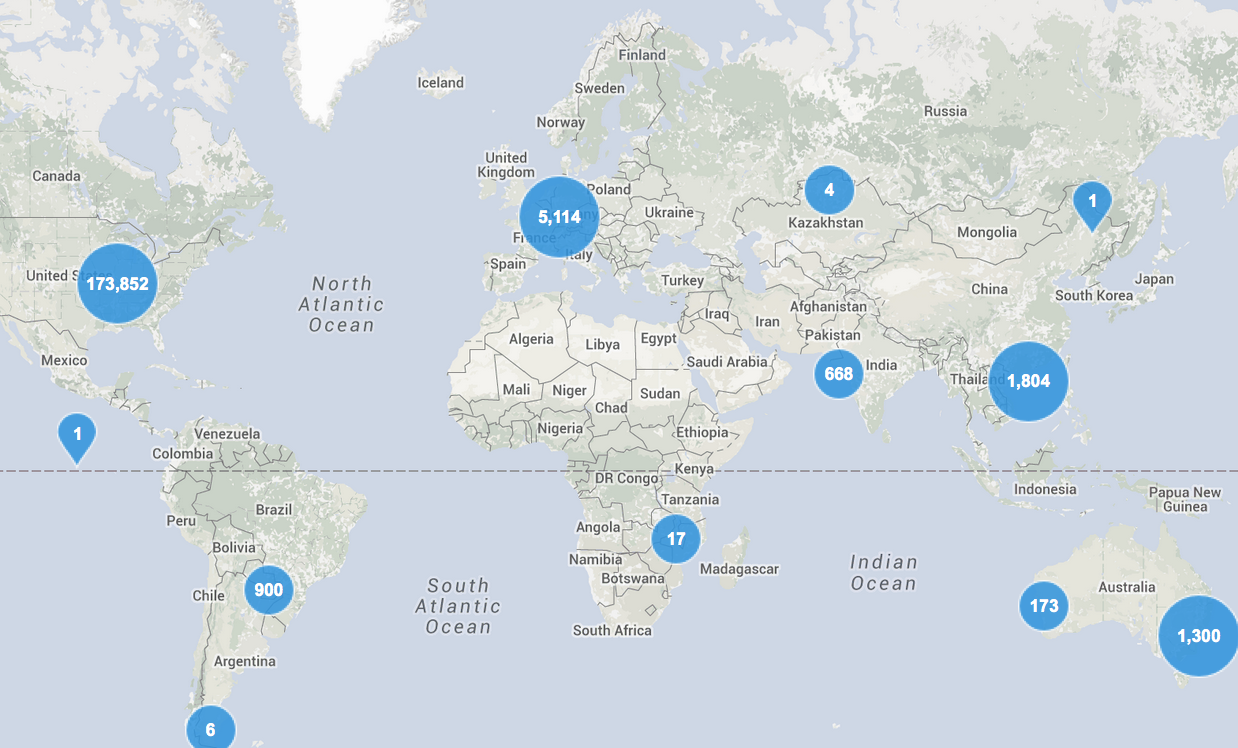 GBIG includes project data from 200+ sources in 182 countries.